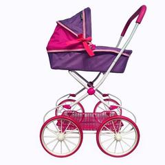 Классическая кукольная коляска на больших колесах цвет фиолетовый+фуксия