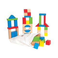 Конструктор деревянный цветной 50 элементов