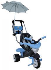 Велосипед 3-х колёсный Амиго с ограждением, клаксоном, ручкой, ремешком, мягким сиденьем, сумкой и зонтиком (Колеса пластмассовые)