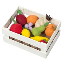 Набор  фруктов в ящике 10 предметов (с карточками)