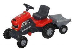 Каталка-трактор с педалями Turbo с полуприцепом колеса пластмассовые с резиновой вставкой