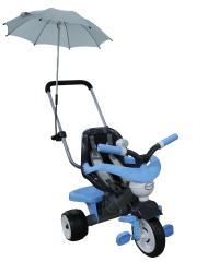 Велосипед 3-х колёсный Амиго с ограждением, клаксоном, ручкой, ремешком, мягким сиденьем и зонтиком (Колеса пластмассовые)