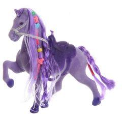 Игрушка флокированная Лошадь с косой 12.5
