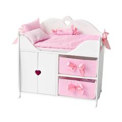Кроватка-шкаф для кукол с постельным белье, цвет: белый